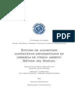 Estudio de algoritmos matematicos implementados en librerias de codigo abierto