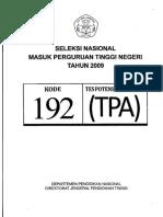 Soal SNMPTN 2009 Tes Potensi Akademik (TPA) Kode Soal 192_carisoal.com.pdf