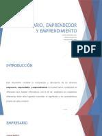 Empresario, Emprendedor y Emprendimiento