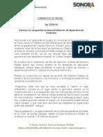 20-03-2019 Sonora a la vanguardia en descentralización de dependencias Federales