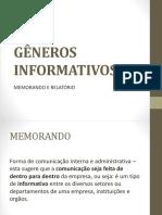 Gêneros Informativos _ Memorando e Realtorio