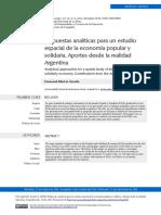 Propuestas analíticas para un estudio espacial de la economía popular y solidaria. Aportes desde la realidad Argentina. (Autor
