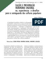 Legislação e preservação do patrimônio imaterial