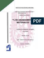 TABLA CON EL PORCENTAJE DE ABUNDAMIENTO DE MATERIALES