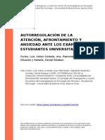 Furlan, Luis, Kohan Cortada, Ana, Pie (..) (2008). Autorregulacion de La Atencion, Afrontamiento y Ansiedad Ante Los Examenes en Estudian (..)