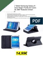 Funda Para Tablet Samsung Galaxy Funda Carcasa Negro Funda de Cuero Piel Elegante 360º Rotación Smart Case Cover