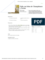▷ Pollo con Salsa de Champiñones y Tocino - Kiwilimón®