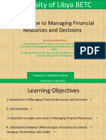 Introduction to Managing Financial Resources and Decisions Lecture 1