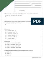Ordenaçao Dos Numeros Naturais 4 Ano Modelo Editavel