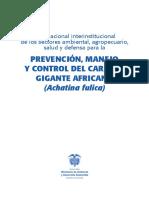 Prevención, Manejo  y Control del Caracol Gigante Africano