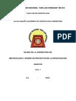 SILABO METODOLOGIA Y DISEÑO DE PROYECTOS DE INVESTIGACION  2019 - I.docx