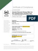 Fire Rated Door Certificate