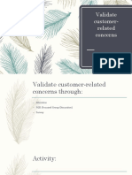 Validate Customer-related Concerns
