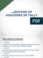 Creation of Voucher