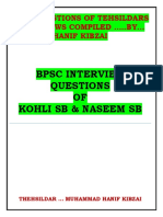 Bpsc Kohli and Naseem Sb Question
