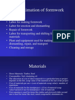 Formwork Costing