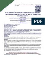 UTILIZATION OF IMMUNIZATION SERVICES AMONG CHILDREN UNDER FIVE YEARS OF AGE IN KIRINYAGA COUNTY, KENYA