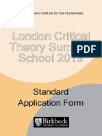 London Critical Theory Summer School application form