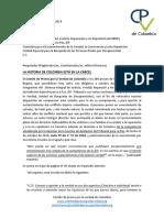 Carta del Comité de presos por la verdad de Colombia