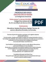 PROEDUCAR XXVII, Convocatoria y Programa 2019