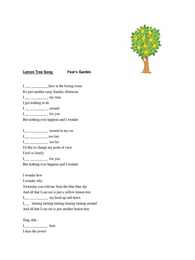 Lemon Tree Song Lyrics Present Continuous Docx