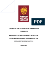 SAHRC Finding Julius Malema & Other March 2019