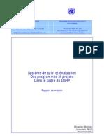 Système de suivi et évaluation des programmes et projets dans le cadre du DSRP (Novembre 2001)