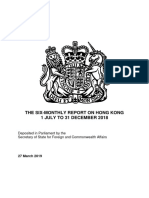 UK Six Monthly Report on Hong Kong July - December 2018