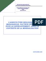L'agriculture biologique à Madagascar, facteur innovant pour le développement, dans le contexte de la mondialisation (Septembre 2000)