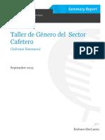 Coffee Sector Gender Workshop Taller Genero Sector Cafetero Spanish Final