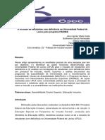 A inclusão de estudantes com deficiência na Universidade Federal de  Lavras pelo programa PADNEE