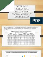 Flujo de inversión directa extranjera en el sector minero energético