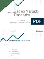 Matemática Financeira e Taxa de Juros