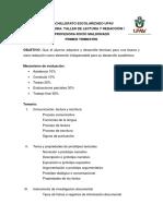 Temario Taler Redaccion y Lectura i