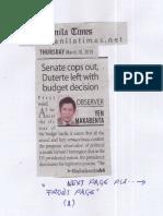 Manila Times, Mar. 28, 2019, Senate cops out, Duterte left with budget decision.pdf
