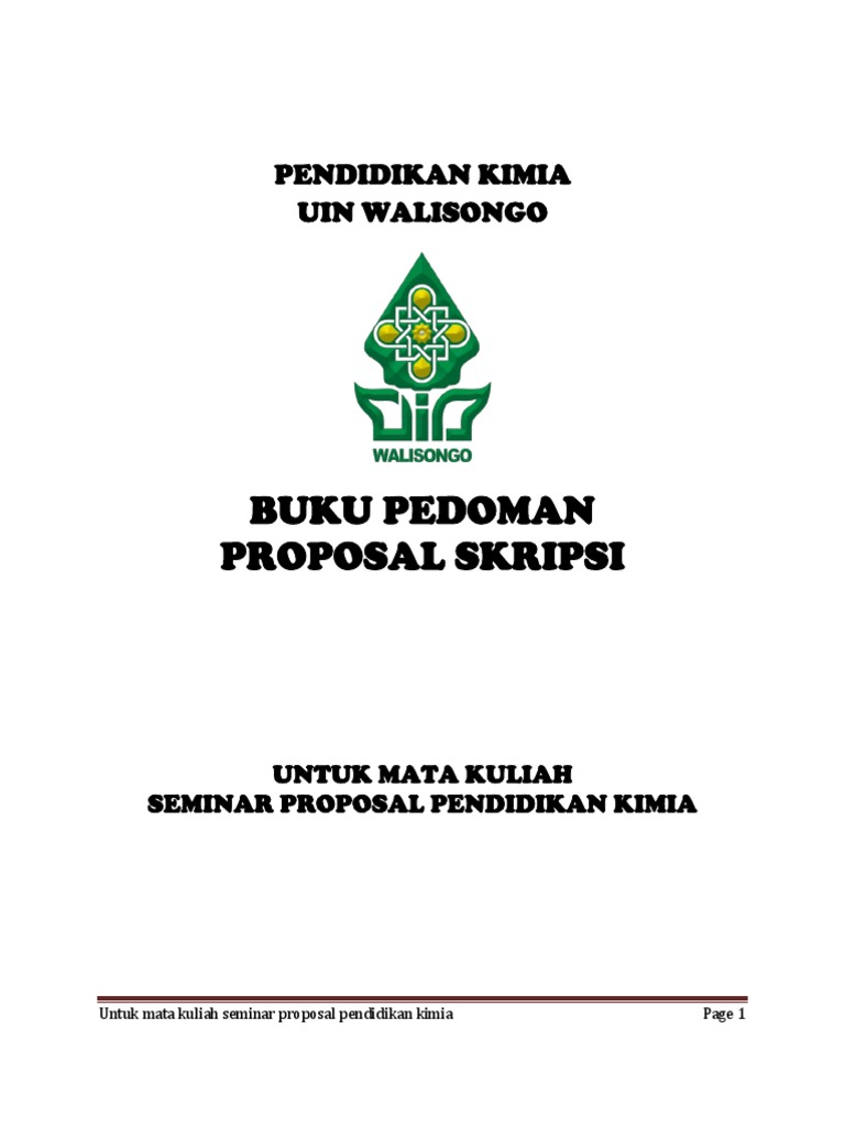 Buku Pedoman Proposal Skripsi Pendidikan Kimia Uin Walisongo