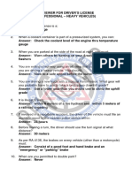 Questionnaires for Professional Drivers License Applicants (Heavy Vehicles) Reviewer