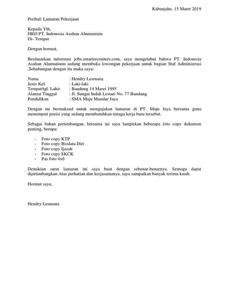 4 Contoh Surat Lamaran Kerja Di Pt Sebagai Karyawan 3 Dok