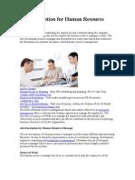 Job Description for Human Resource Manager