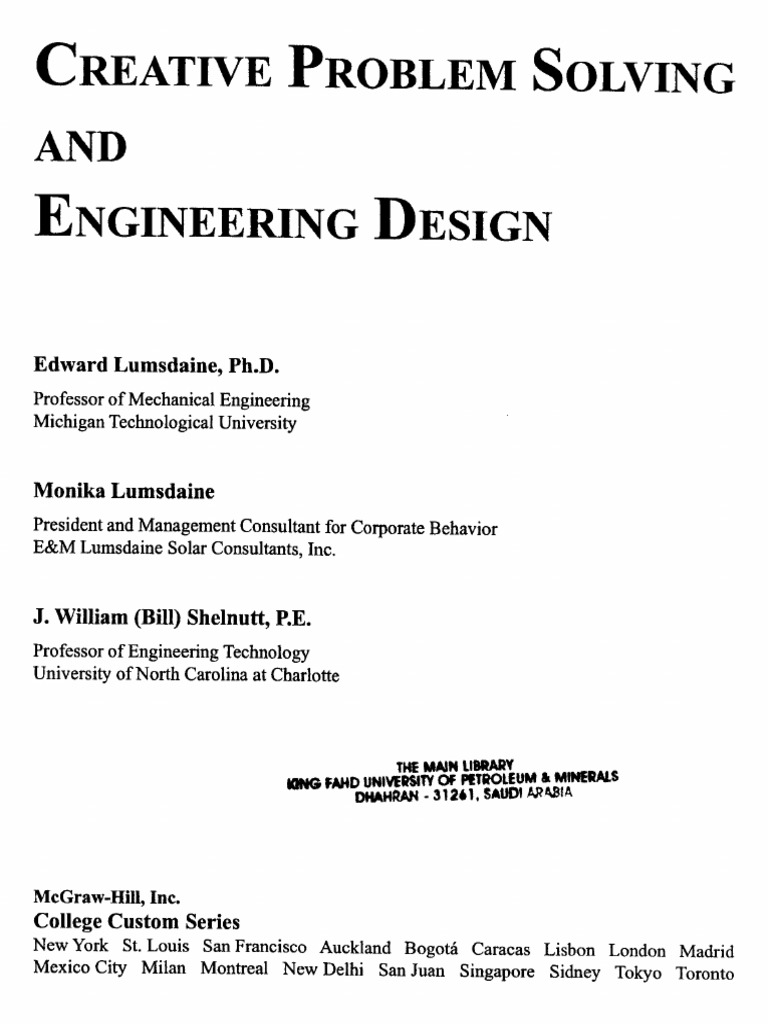 Creative Problem Solving And Engineering Design Pdf
