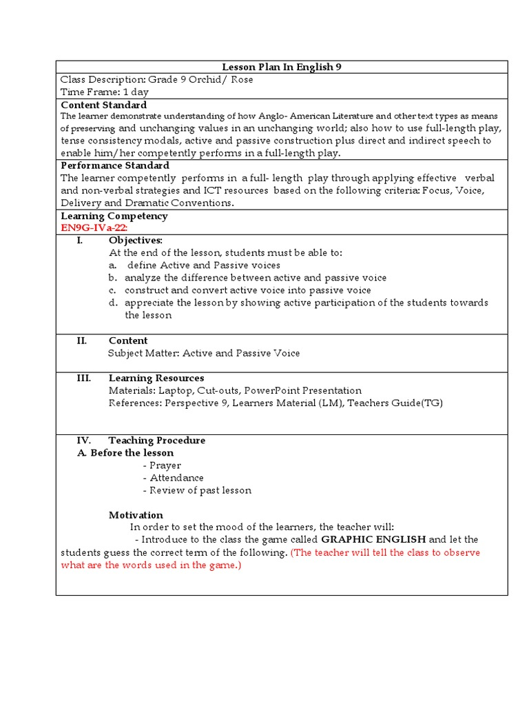 cot 1 lp docx | Lesson Plan | Learning