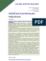 Noticias Del Jueves 28.03.2019