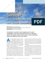 Security loopholes in virtualization technology in cloud computing