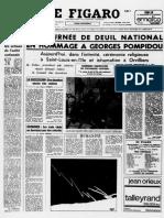La mort de Georges Pompidou dans Le Figaro du 4 avril 1974