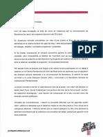 Carta de Jordi Sànchez a tots els candidats per Barcelona el 28A