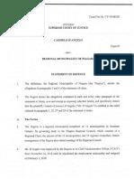 Niagara Region Statement of Defence in Carmen D'Angelo lawsuit