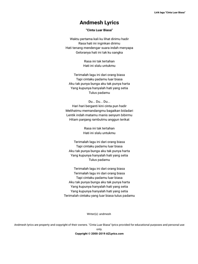 Andmesh Cinta Luar Biasa Lyrics Azlyrics Com