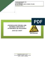 JUSTIFICACIÓN TÉCNICA DEL MATERIAL EXPLOSIVO Y ACCESORIOS DE VOLADURAS- 14007.docx