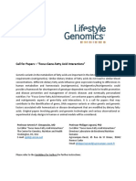 Call for Papers - Focus Gene-Fatty Acid Interactions - Lifestyle Genomics Journal