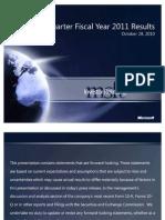 Microsoft Q1 Fiscal 2011 Earnings